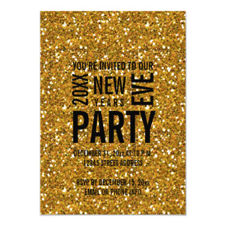 Gold Glitter Modern New Years Eve Party Invitation