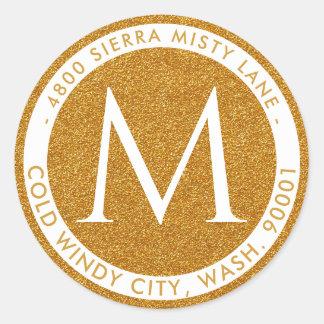 Gold Glitter Monogram Circular Return Address Classic Round Sticker