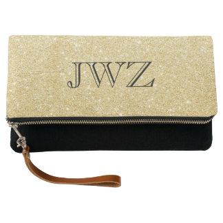Gold Glitter Monogram Intial Clutch