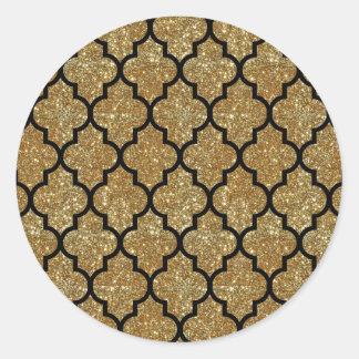 Gold Glitter Moroccan Quatrefoil Pattern Classic Round Sticker