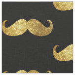Gold Glitter Moustache Fabric