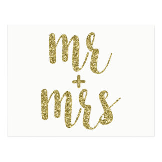 Gold glitter Mr. & Mrs. postcards