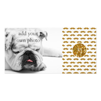 Gold Glitter Mustache Pattern Your Monogram Photo Greeting Card