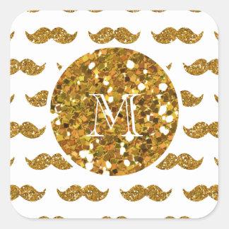 Gold Glitter Mustache Pattern Your Monogram Square Sticker
