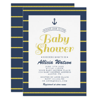 Gold Glitter Navy Baby Shower Invitation