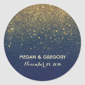 Gold Glitter Navy Vintage Wedding Classic Round Sticker