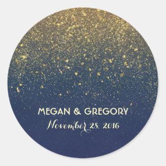Gold Glitter Navy Vintage Wedding Classic Round Sticker
