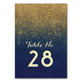 Gold Glitter Navy Wedding Table Number