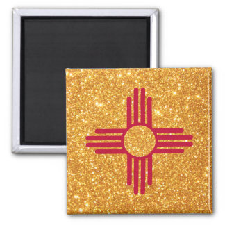 Gold Glitter New Mexico Flag Square Magnet