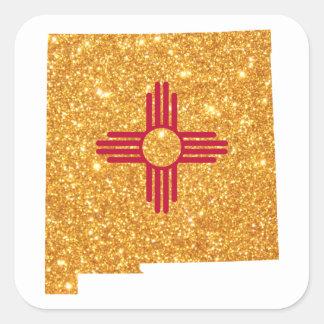 Gold Glitter New Mexico Square Sticker