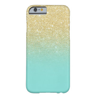 Gold glitter ombre robbin egg blue color block barely there iPhone 6 case