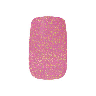 Gold Glitter on Dark Pink Nail Art