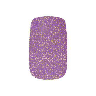 Gold Glitter on Dark Purple Nail Art
