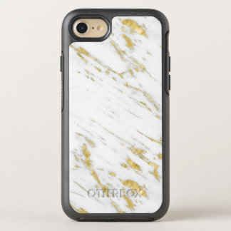 Gold Glitter On White Marble OtterBox Symmetry iPhone 8/7 Case