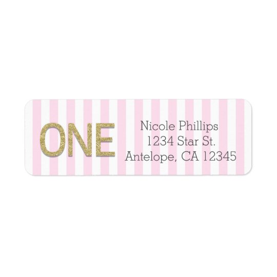 Gold Glitter ONE 1st Pink Stripes Address Labels