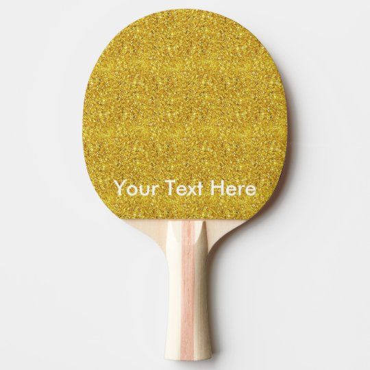 Gold glitter paddle with personalized custom text Ping-Pong paddle