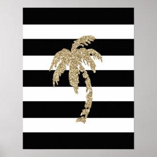 Gold Glitter Palm Tree, Black/White Stripe Poster