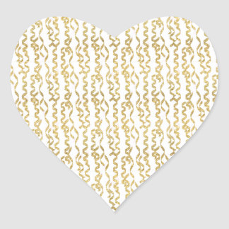 Gold Glitter Party Streamers on White Background Heart Sticker
