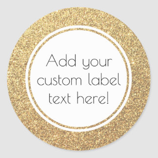 Gold Glitter Pattern Custom Craft Favor Wedding Classic Round Sticker