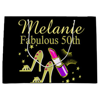 GOLD GLITTER PERSONALIZED 50TH BIRTHDAY GIFT BAG