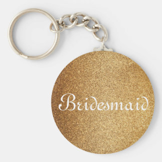 Gold Glitter Personalized Bridesmaid Keychain
