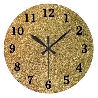 Gold Glitter Photo Black Numbers Large Clock