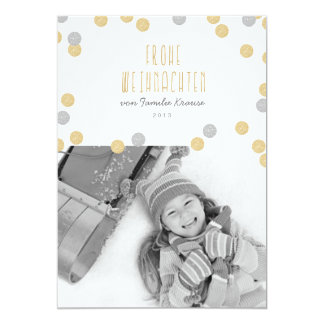 Gold glitter photo Christmas card