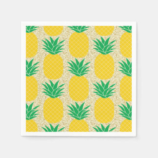 Gold Glitter Pineapple Tropical Paper Napkins