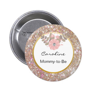 Gold Glitter Pink Baby Shower Mommy-to-Be Name Tag 2 Inch Round Button