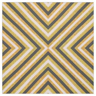 Gold glitter pink black triangles chevron pattern fabric