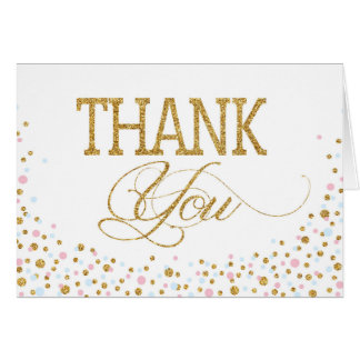 Gold Glitter Pink Blue Twins Thank You Card