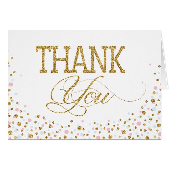 Gold Glitter Pink Blue Twins Thank You Card