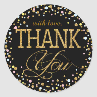 Gold Glitter Pink Blue Yellow Thank You Label