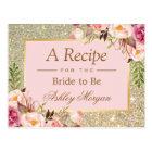 Gold Glitter Pink Floral Bridal Shower Recipe Card