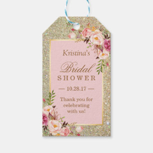 gold glitter pink floral bridal shower thank you gift tags