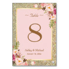 Gold Glitter Pink Floral Wedding Table Number
