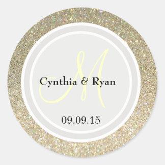 Gold Glitter & Platinum Wedding Monogram Label Round Sticker