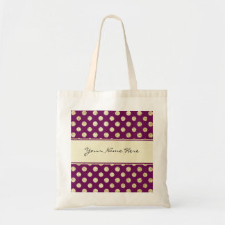 Gold Glitter Polka Dot on Personalized Purple Tote Bag