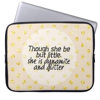 Gold Glitter Polka Dot Shakespeare Quote Laptop Sleeve
