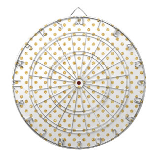 Gold Glitter Polka Dots Pattern Dartboards