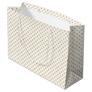 Gold Glitter Polka Dots Pattern Large Gift Bag