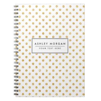 Gold Glitter Polka Dots Pattern Notebooks