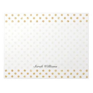 Gold Glitter Polka Dots Pattern Notepads