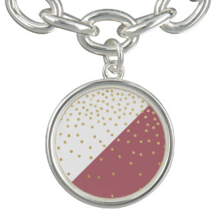 gold glitter polka dots pattern, pink triangles charm bracelet