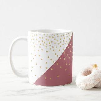 gold glitter polka dots pattern, pink triangles coffee mug