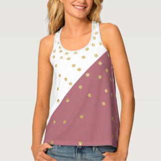 gold glitter polka dots pattern, pink triangles tank top