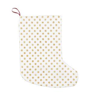Gold Glitter Polka Dots Pattern Small Christmas Stocking