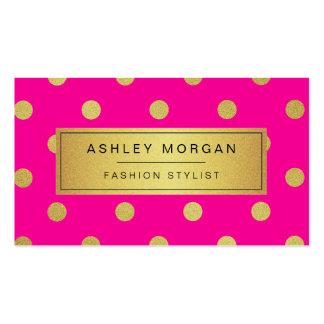 Gold Glitter Polka Dots - Stylish Beauty Pink Business Card