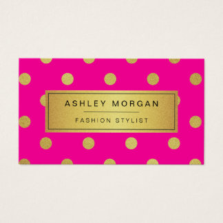 Gold Glitter Polka Dots - Stylish Beauty Pink Business Card