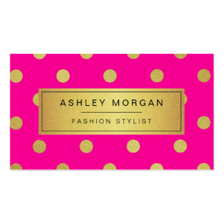 Gold Glitter Polka Dots - Stylish Beauty Pink Pack Of Standard Business Cards